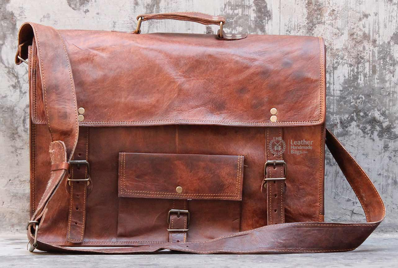 17 Inch Leather Messenger Laptop Bag